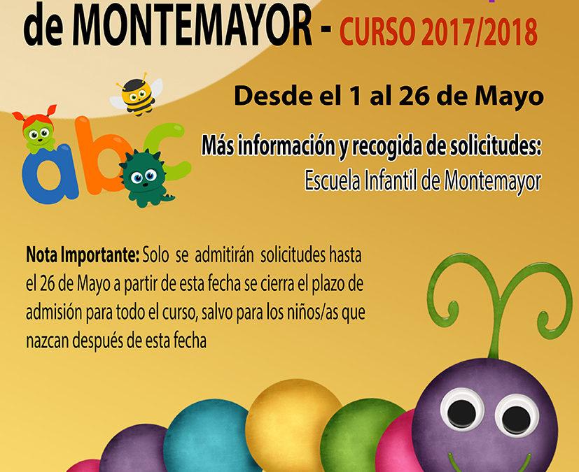 Pre-Inscripciones Escuela Infantil Municipal de Montemayor
