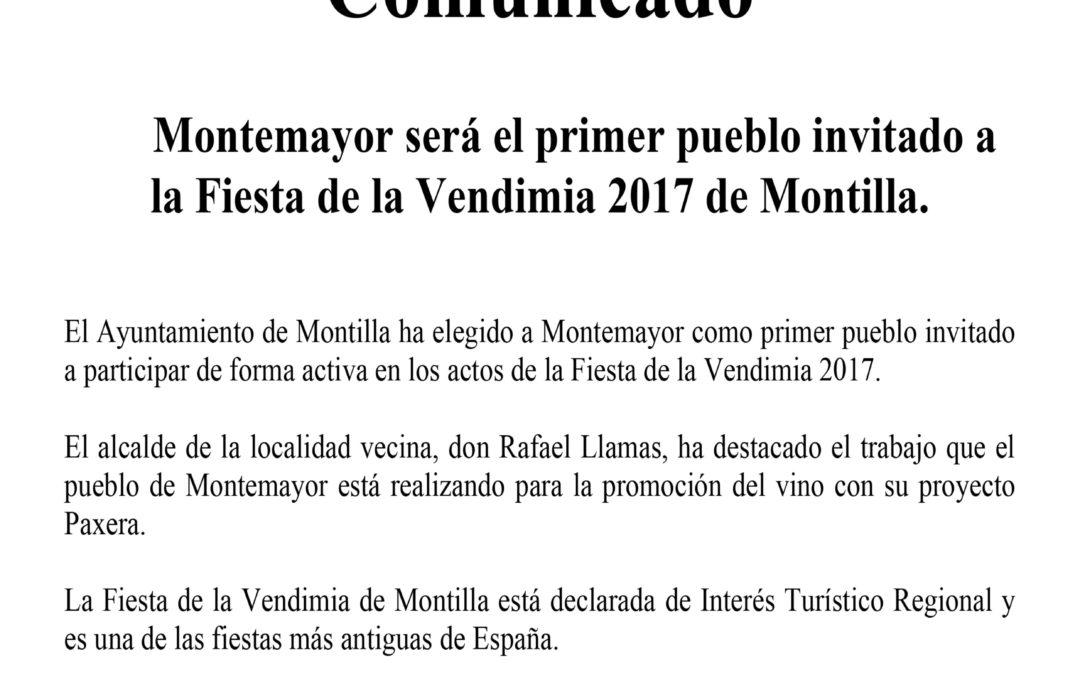 Comunicado Montemayor invitado Fiesta Vendimia Montilla