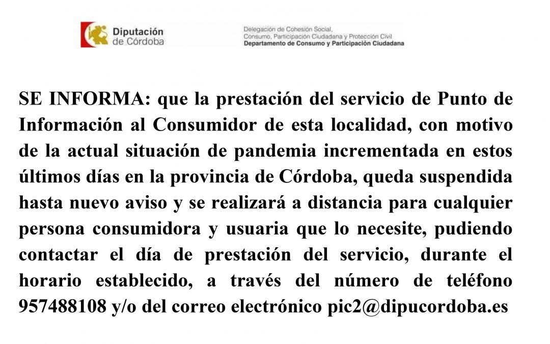 Suspensión servicio punto de Información al consumidor