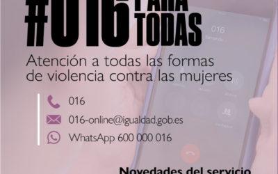 Novedades del servicio 016 y campaña de concienciación social sobre Violencia de Género