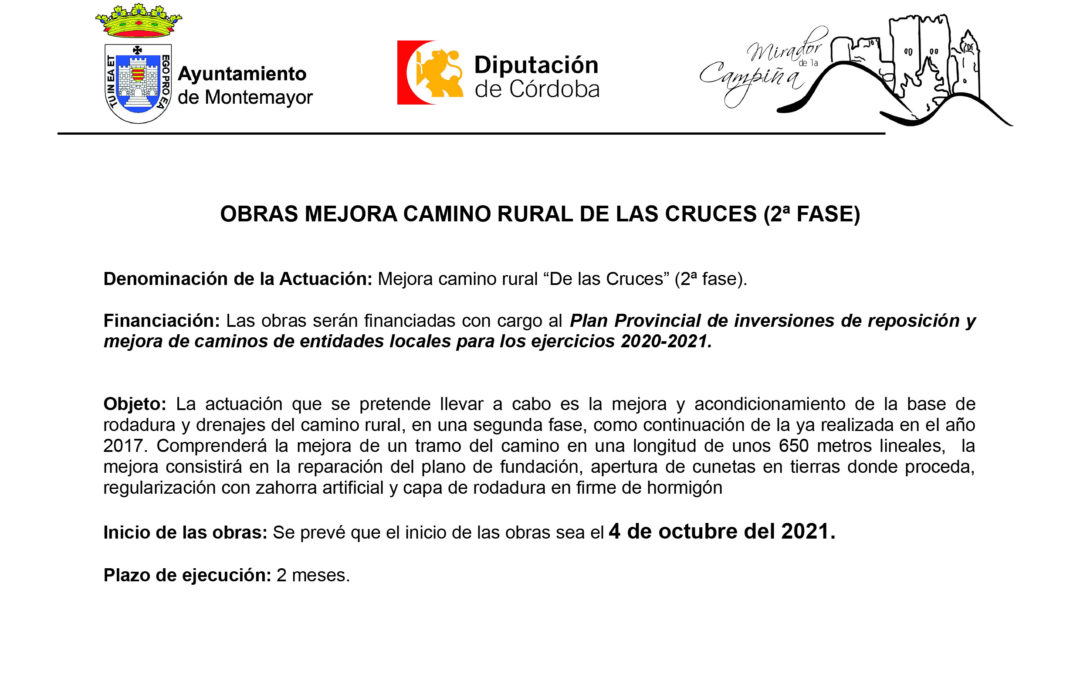 Obras Mejora Camino Rural de las Cruces (2ª Fase)